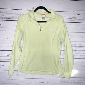 North Face Lime Green Fleece Jacket Quarter zip